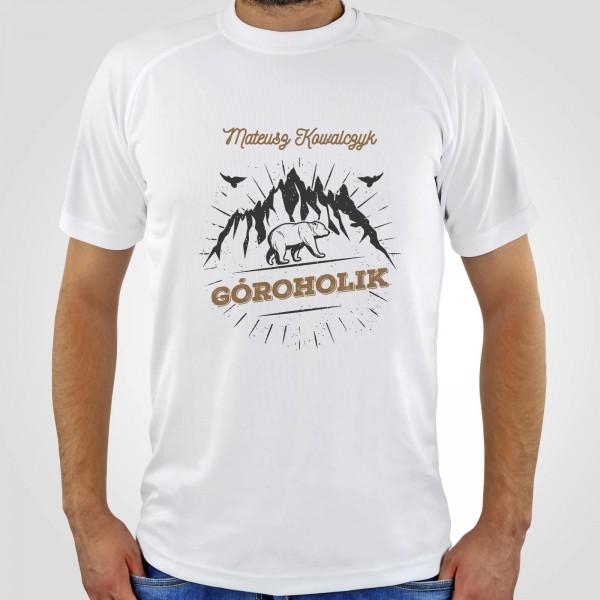 męska koszulka z nadrukiem dla miłośnika gór