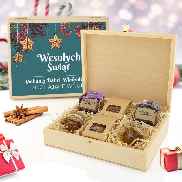 drewniana herbaciarka z nadrukiem dla babci na święta