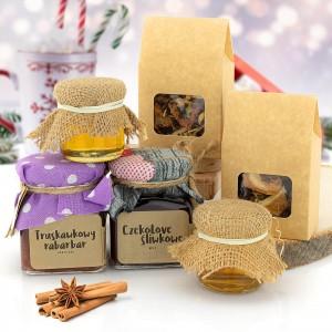 zestaw herbat, miodów i konfitur na prezent