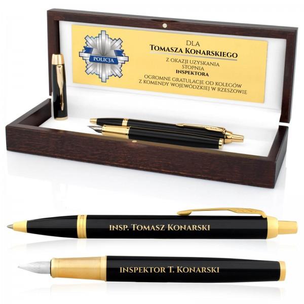 pióro wieczne i długopis parker z grawerem dla policjanta na awans