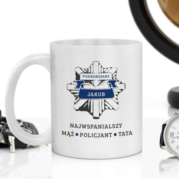 personalizowany kubek z nadrukiem dla policjanta