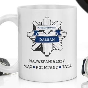 kubek z personalizowanym nadrukiem na prezent dla policjanta