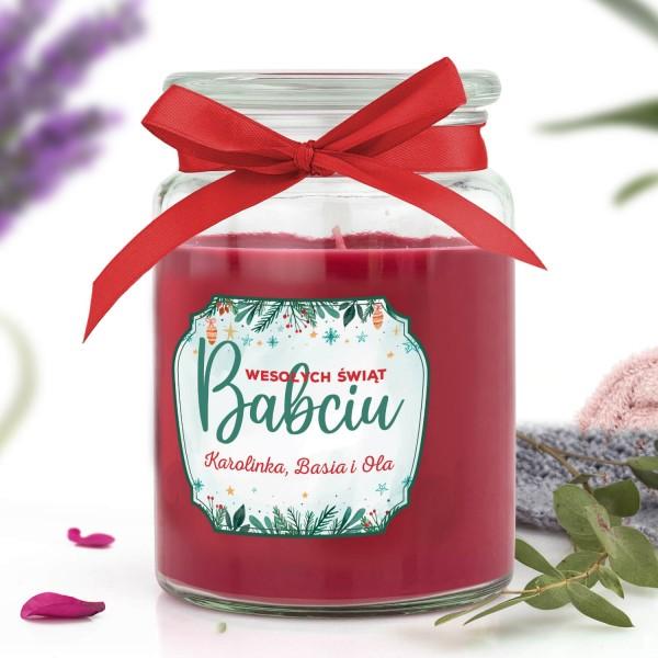 świeca zapachowa na święta w słoiku z wieczkiem