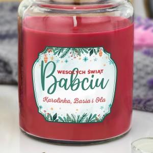 świeczka zapachowa w słoiku z dedykacją dla babci