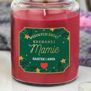 świąteczna świeca zapachowa w słoiku z nadrukiem dla mamy