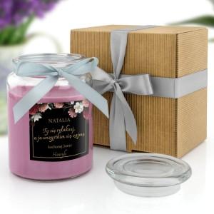 świeca zapachowa w dedykacją dla żony i ekologiczne opakowanie prezentowe