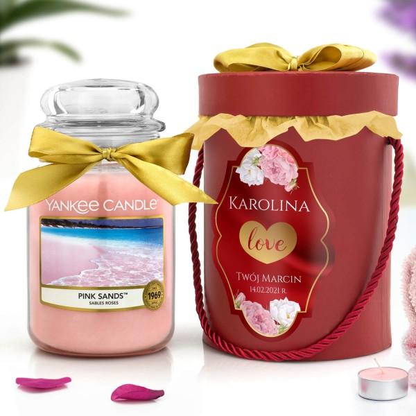 świeca pink sands yankee candle i flower box prezentowy
