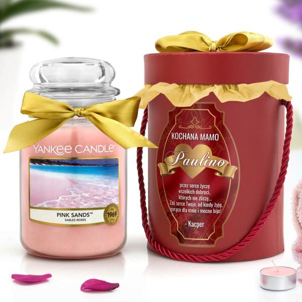 flower box i świeca yankee candle na prezent