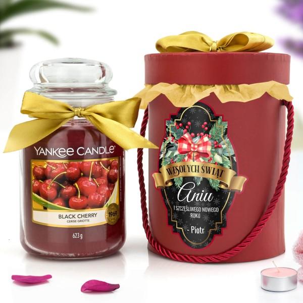 yankee candle świeca i flower box z personalizacją