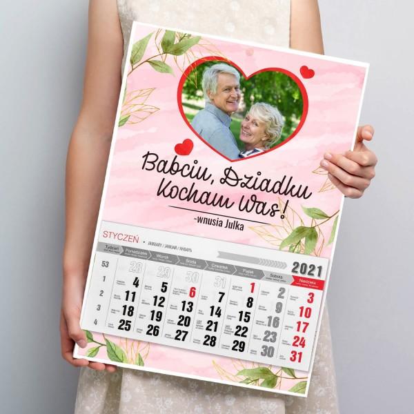 kalendarz ścienny z nadrukiem zdjęcia dla babci i dziadka