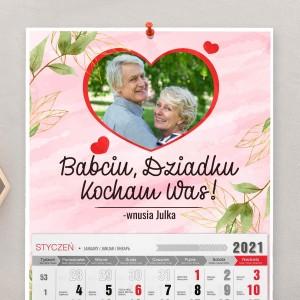 kalendarz na 2021 z nadrukiem zdjęcia na dzień babci i dziadka