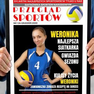 okładka gazety w ramie z własnym zdjęciem dla sportowca