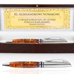 długopis z bursztynem w etui z nadrukiem dla księdza
