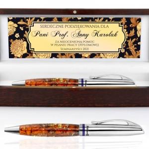 długopis z bursztynem pelikan w etui z dedykacją dla promotora