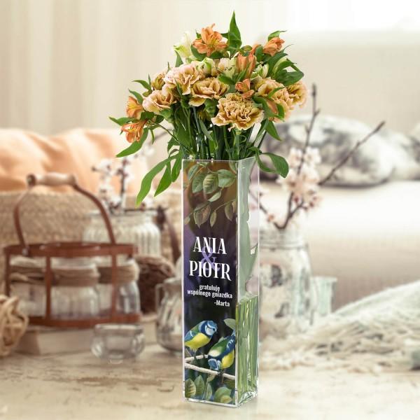wazon ze szkła z nadrukiem dedykacji