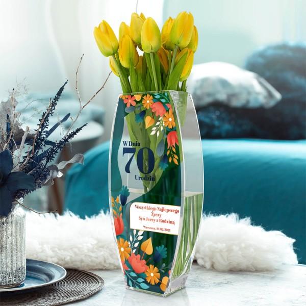 wazon szklany z nadrukiem na 70 urodziny