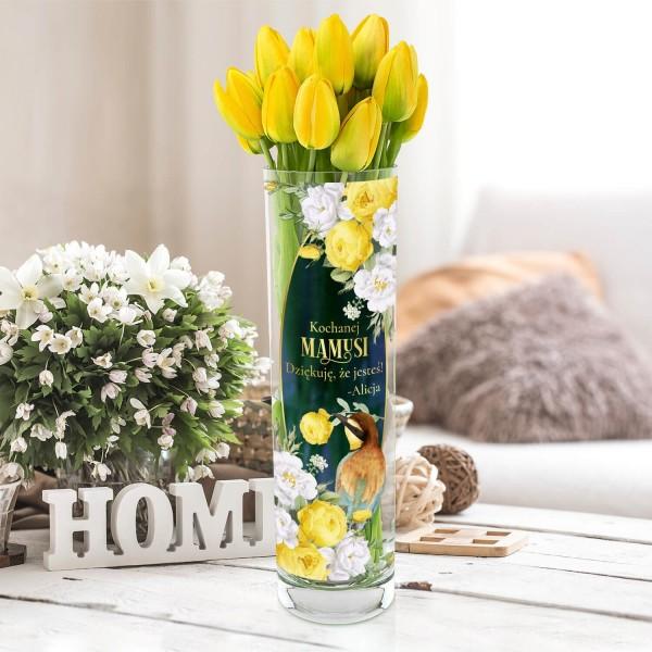wazon dekoracyjny cylinder z nadrukiem
