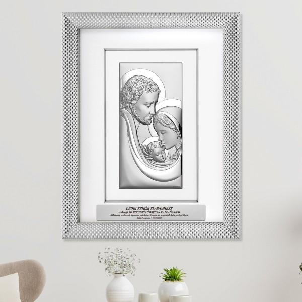 obraz srebrny z grawerem dla księdza