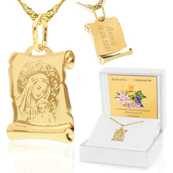 złoty medalik z Matką Boską na komunię