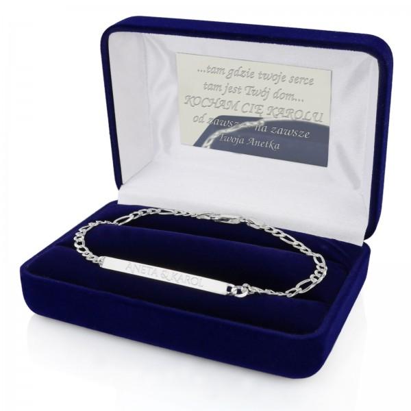 srebrna bransoletka w etui z grawerem dedykacji na prezent