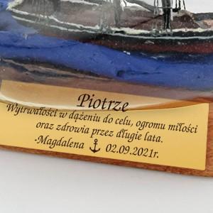 rafandynka statek w butelce z grawerem
