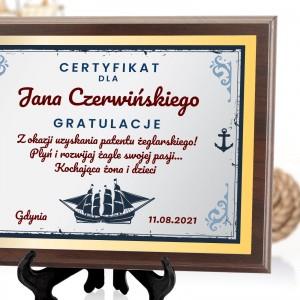 prezent dla żeglarza certyfikat