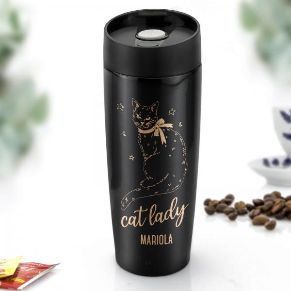 kubek termiczny z grawerem dla miłośnika kotów