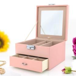 różowa szkatułka na biżuterię z nadrukiem