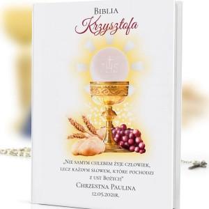 biblia dla dzieci z nadrukiem na komunię
