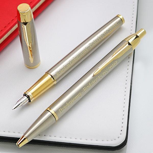 personalizowany zestaw pióro i długopis Parker