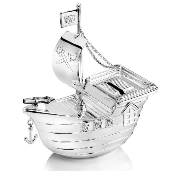 spersonalizowana srebrna skarbonka statek