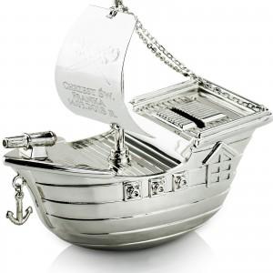 srebrna skarbonka na chrzest