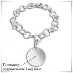 Srebrna bransoletka próby 925 baza do charms z kółeczkiem z możliwością grawerowania dedykacji, życzeń...