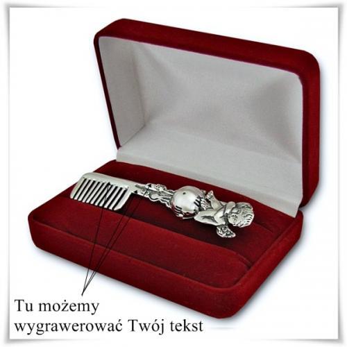 Srebrny grzebyk do włosów Aniołek prezent na chrzciny z opcją umieszczenia graweru