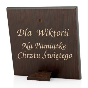 obrazek srebrny z grawerem na prezent na chrzest