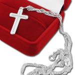 Srebrny krzyżyk z łańcuszkiem pamiątka chrztu