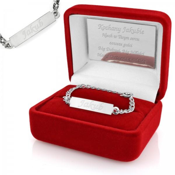 srebrna bransoletka na prezent na chrzest święty