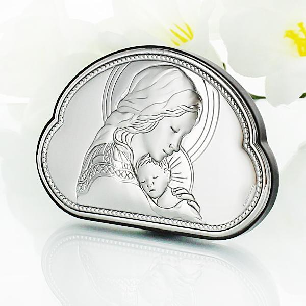 srebrny obrazek z Matką Boską