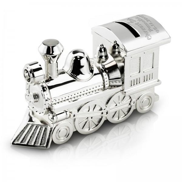 srebrna skarbonka na chrzest lokomotywa