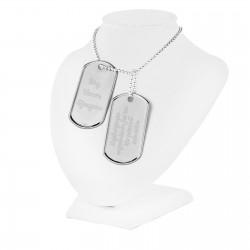srebrny nieśmiertelnik z grawerem dedykacji na prezent dla niej