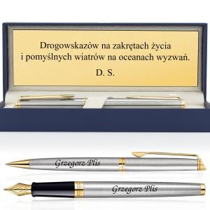 długopis i pióro z grawerem w pudełku na prezent dla niego