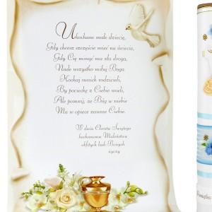 niebieska tuba dekoracyjna na chrzest z życzeniami