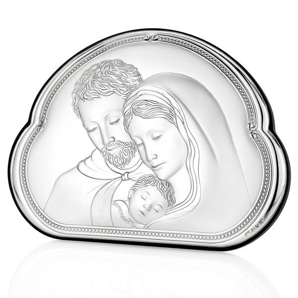 obrazek srebrny święta rodzina na prezent