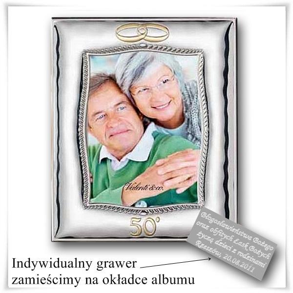 Posrebrzana lustro-ramka prezent z okazji 50 Rocznicy Ślubu