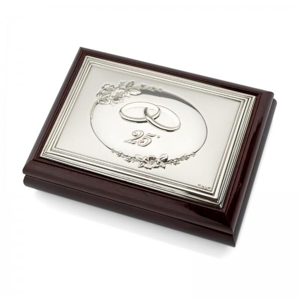 Posrebrzana szkatułka z grawerowaną tabliczką
