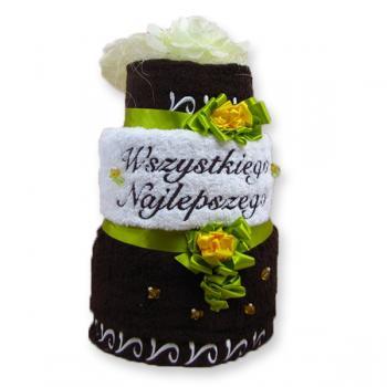 Brązowy tort z ręczników