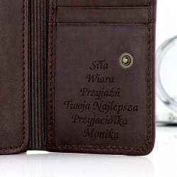 portfel skórzany damski z grawerem