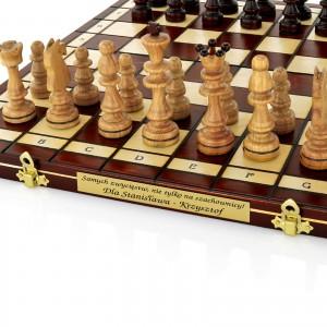 drewniane szachy z grawerem