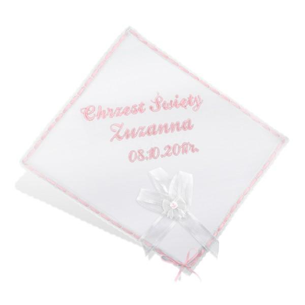 szatka na chrzest święty z haftem imienia dziewczynki