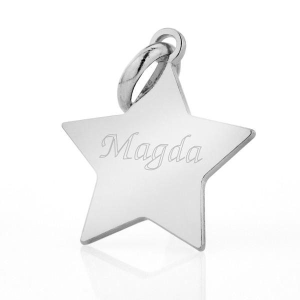 srebrna zawieszka gwiazda z grawerem
